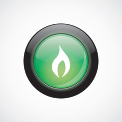 fire glass sign icon green shiny button.
