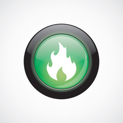 fire glass sign icon green shiny button