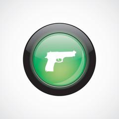 gun glass sign icon green shiny button