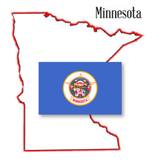 Minnesota State Map and Flag