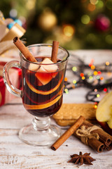 mulled wine on New Year's table. Christmas mulled winemulled win
