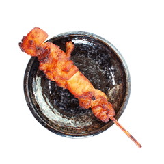Grill satay chicken with skewer isolated on white