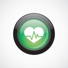 heart pulse glass sign icon green shiny button