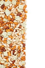 Background with assorted nuts over white background