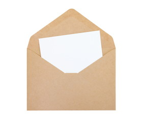 Empty white paper note and brown paper envelope