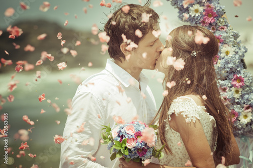 wedding couple just married - 73563055