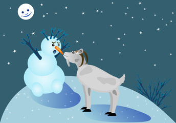 goat and snowman