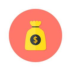 Gold Money Bag Flat Circle Icon