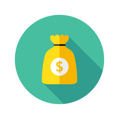 Dollar Money Bag Flat Circle Icon