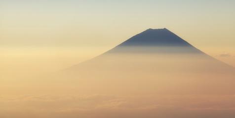 Top of Mountain Fuji and beautiful sunrise sky