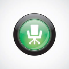 Office chair glass sign icon green shiny button