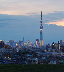 Tokyo city view residential area and Tokyo sky tree at sunset