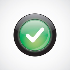 ok glass sign icon green shiny button