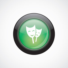 theater sign icon green shiny button