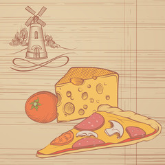 Rustic Illustration of Pizza and Cheese