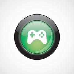 joystick sign icon green shiny button.
