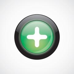 plus sign icon green shiny button