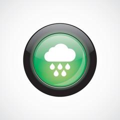 cloud rain sign icon green shiny button