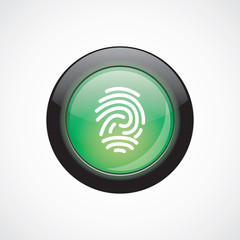 fingerprint sign icon green shiny button
