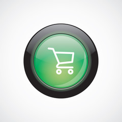 shopping cart sign icon green shiny button