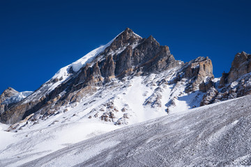 High mountains and clear sky. Beautiful natural landscape
