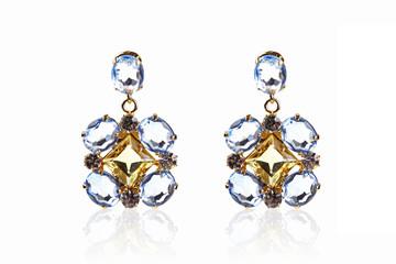 luxury gemstone earrings isolated on white