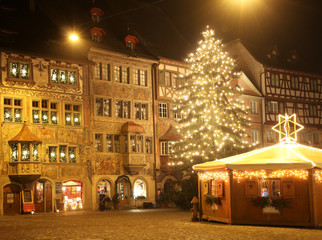 Christmas night in an old European town