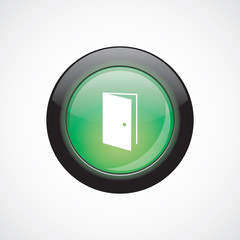 open door glass sign icon green shiny button