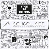 Hand drawn school icons set.