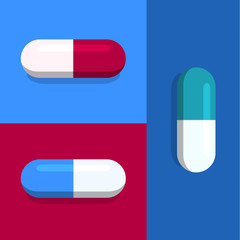 Vector capsules on blue and red
