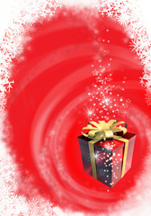 Illustrated red Christmas card with gift box