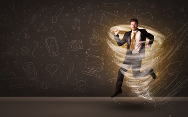 Happy businessman jumping in tornado concept