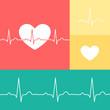 EKG and heart vector medical set