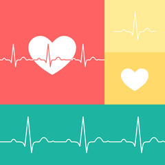 EKG and heart vector medical set