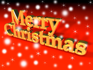 3d Merry Christmas on red background
