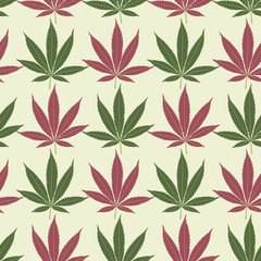 Seamless marijuana red and green leaves pattern.