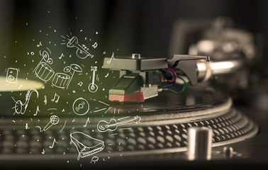 Turntable playing classical music with icon drawn instruments