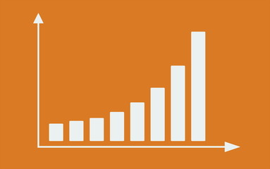Bar graph with arrows axis. Grow chart business concept