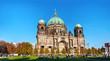 canvas print picture - Berliner Dom panoramic overview on a sunny day