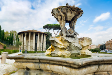 Rome, Italy: Fountain of Tritons and temple of Hercules.