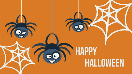 Three hanging spiders. Happy Halloween invitation card.