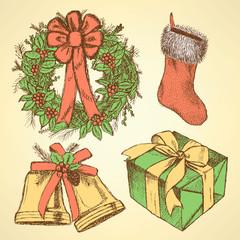 Sketch Christmas set in vintage style