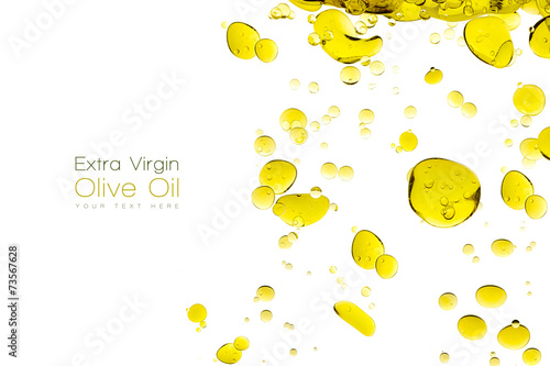 Olive Oil Drops Isolated on White.Template design - 73567628