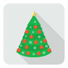 Decorated Christmas tree on gray background flat icon