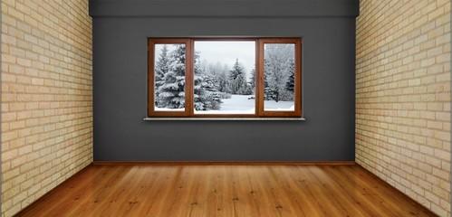 Empty room with winter view window