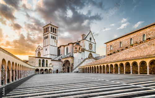 Basilica of St. Francis of Assisi at sunset, Assisi, Italy - 73569261
