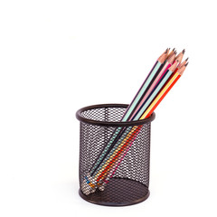 Metal basket with pencil isolated on white background