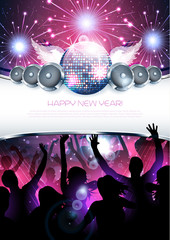 New year shiny party disco background with silhouette