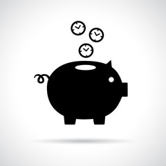 Piggy bank icon with clocks falling in.