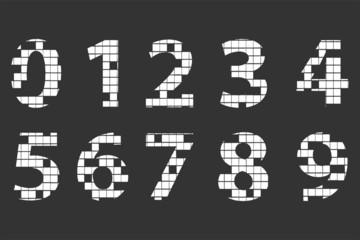 Mosaic Alphabet Numbers On Blackboard